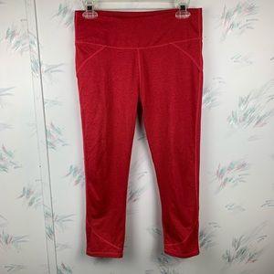 Fabletics Solid Red Mid Rise Capri Leggings Medium